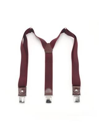 Мужские широкие подтяжки для штанов LALEAS бордового цвета с мелким узором