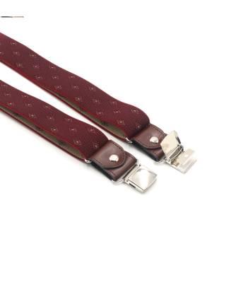 Мужские широкие подтяжки для штанов LALEAS бордового цвета с узором белый ромб