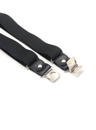 Мужские широкие подтяжки для штанов LALEAS чёрного цвета с мелким узором