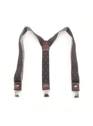 Мужские широкие подтяжки для штанов LALEAS коричневого цвета с узором белый ромб