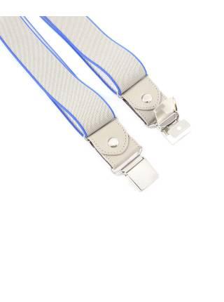 Мужские широкие подтяжки для штанов серого цвета с голубой окантовкой