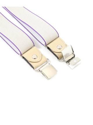 Мужские широкие подтяжки для штанов светло-серого цвета с фиолетовой окантовкой