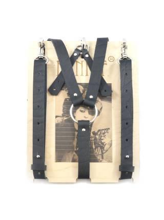 Кожаные подтяжки черного цвета с карабинами и переходником на пуговицы