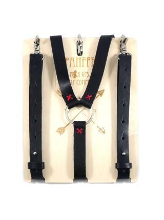 Кожаные подтяжки для джинс черного цвета с карабинами цвета хром