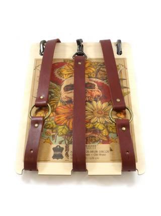 Кожаные подтяжки для джинс коричневого цвета на клёпках с карабинами цвета состаренная латунь