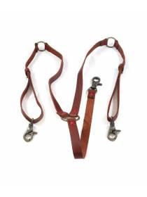 Кожаные подтяжки для джинс коричневого цвета с карабинами цвета состаренная латунь