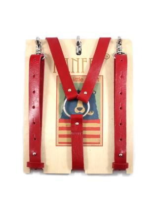 Кожаные подтяжки для джинс красного цвета с карабинами цвета хром