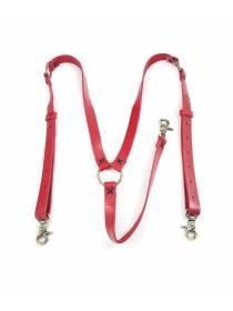 Кожаные подтяжки для джинс красного цвета с карабинами цвета состаренная латунь
