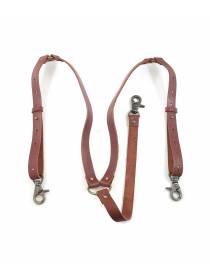 Кожаные подтяжки коричневого цвета с карабинами и переходником на пуговицы