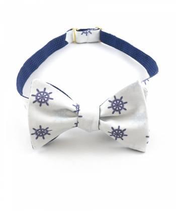 Галстук-бабочка бело-синяя со штурвалом из хлопка Baboon