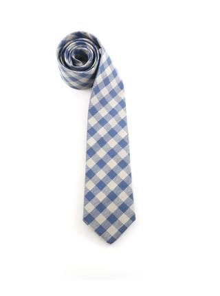 Галстук белого и синего цветов в клетку из шерсти