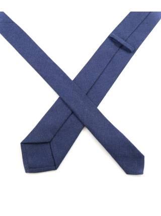 Галстук цвета джинс однотонный из шерсти