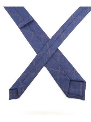 Галстук цвета джинс в клетку из шерсти