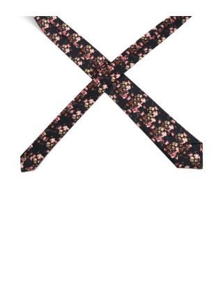 Галстук черный с рисунком Цветы из хлопка