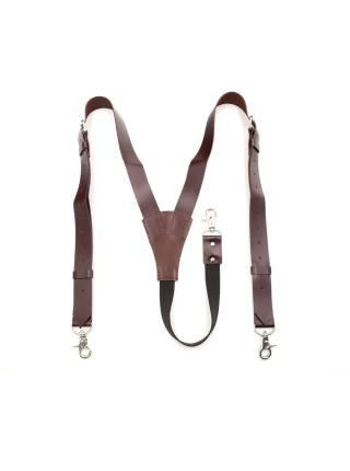 Кожаные подтяжки для штанов коричневые на резинке с карабинами