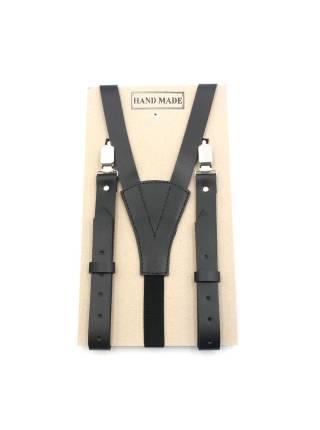 Кожаные подтяжки для штанов черные на резинке с зажимами