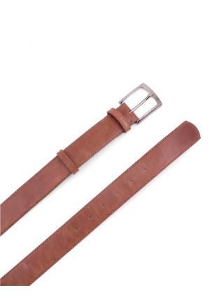 Кожаный ремень коричневый с классической пряжкой цвета никель