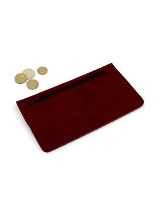 Плоский кошелек бордового цвета из кожи