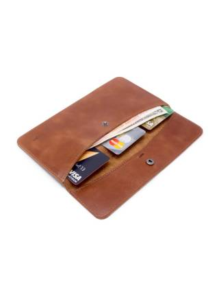 Плоский кошелек коричневого цвета из кожи