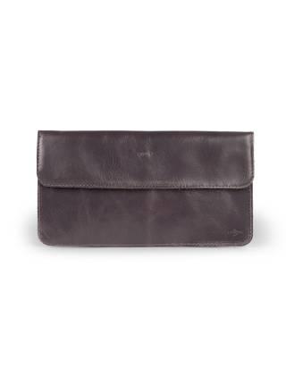 Плоский кошелек серого цвета из кожи