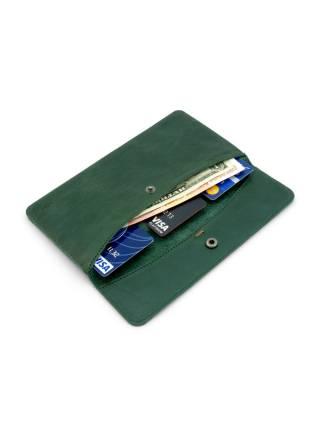 Плоский кошелек зеленого цвета из кожи