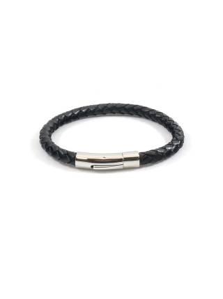 Мужской браслет из плетенной кожи с железной застежкой