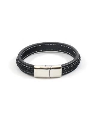 Мужской кожаный браслет с прострочкой и стальной магнитной застежкой