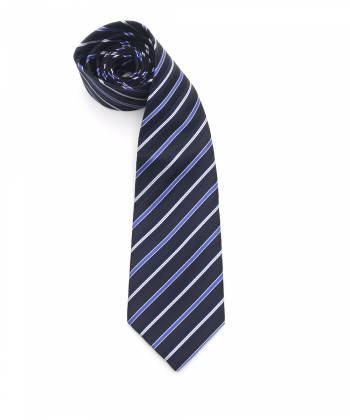 Темно-синий галстук в черно-голубую полоску с белой окантовкой