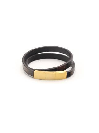 Мужской кожаный браслет cо стальной магнитной золотой застежкой из трёх частей чёрно-коричневого цвета