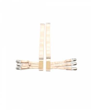 Подтяжки для рубашки телесного цвета со стальными зажимами