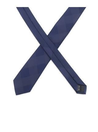 Тонкий темно-синий галстук с узором в ромб