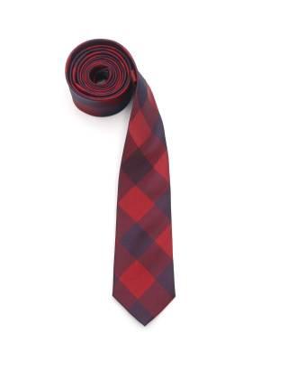 Узкий красный галстук с узором ромб