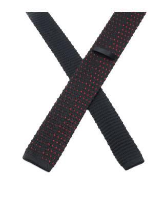 Вязаный галстук черный в красный горошек