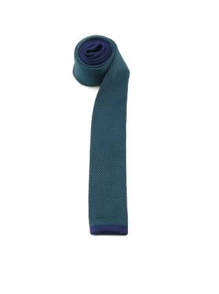 Вязаный галстук изумрудного цвета с полоской