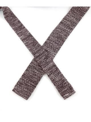 Вязаный галстук коричневого цвета с белым меланж