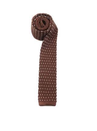 Вязаный галстук коричневый в белый горошек