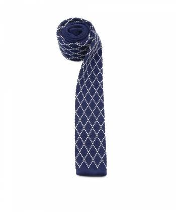 Вязаный галстук темно-синего цвета с узором ромб