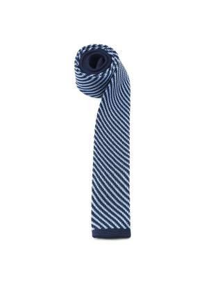 Вязаный галстук темно-синего цвета в голубую полоску