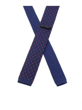 Вязаный галстук темно-синего цвета в красный большой горошек