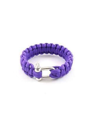 Браслет из паракорда фиолетового цвета однотонный с карабином