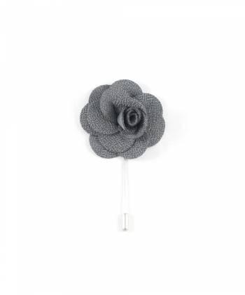 Бутоньерка для пиджака Цветок серый