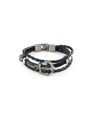 Кожаный браслет черного цвета c декоративным якорем