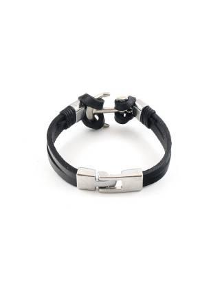 Кожаный браслет черный c декоративным якорем цвета хром