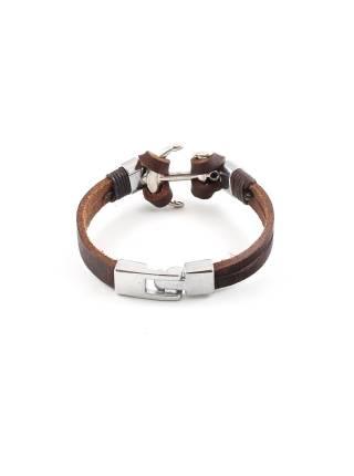 Кожаный браслет коричневый c декоративным якорем цвета хром