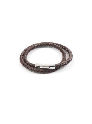 Мужской браслет из плетеной кожи с железной застежкой (коричневый)