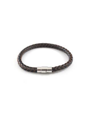 Мужской браслет из плетеной коричневой кожи с магнитной застежкой