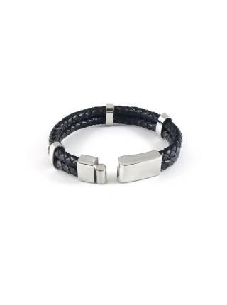 Мужской кожаный браслет c 3-мя креплениями и магнитной застежкой