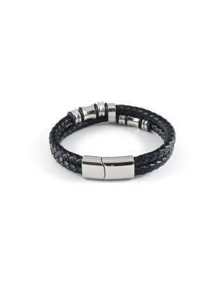 Мужской кожаный браслет c декоративными элементами и магнитной застежкой
