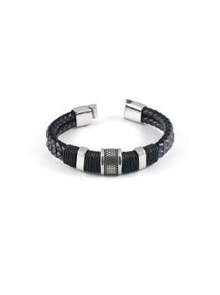 Мужской кожаный браслет c кольцом и магнитной застежкой