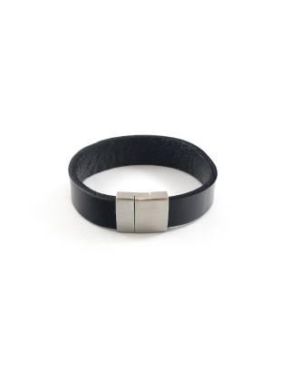 Мужской кожаный браслет c магнитной застежкой широкий